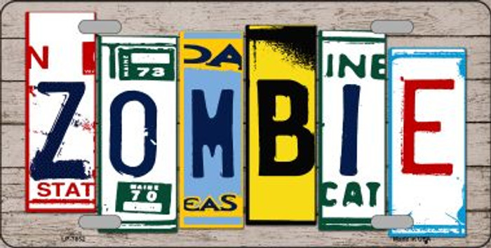 Zombie License Plate Art Wood Pattern Wholesale Metal Novelty License Plate