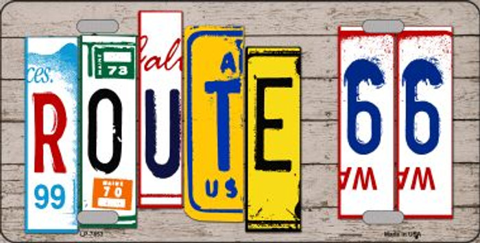 Route 66 License Plate Art Wood Pattern Wholesale Metal Novelty License Plate