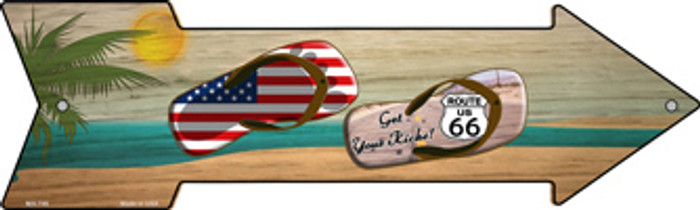 US and Route 66 Flip Flop Wholesale Novelty Mini Metal Arrow Sign MA-746