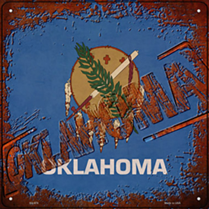 Oklahoma Rusty Stamped Wholesale Novelty Metal Square Sign SQ-978