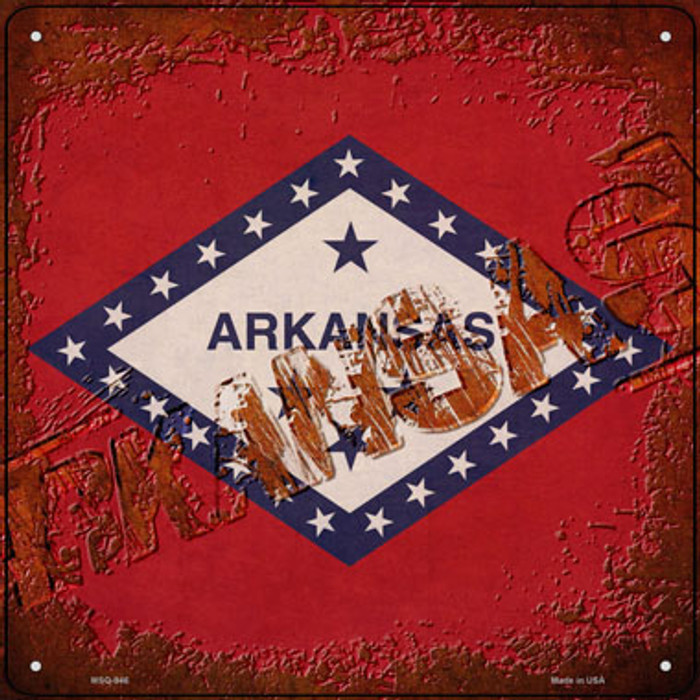 Arkansas Rusty Stamped Wholesale Novelty Mini Metal Square Sign MSQ-946