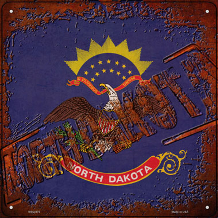 North Dakota Rusty Stamped Wholesale Novelty Mini Metal Square Sign MSQ-976