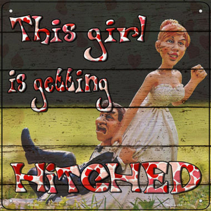 Getting Hitched Wholesale Novelty Mini Metal Square Sign MSQ-998