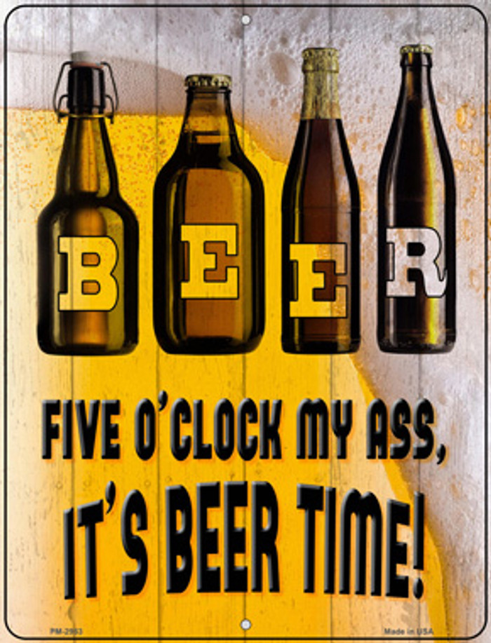 Its Beer Time Wholesale Novelty Mini Metal Parking Sign PM-2983