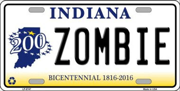 Zombie Indiana Novelty Wholesale Metal License Plate