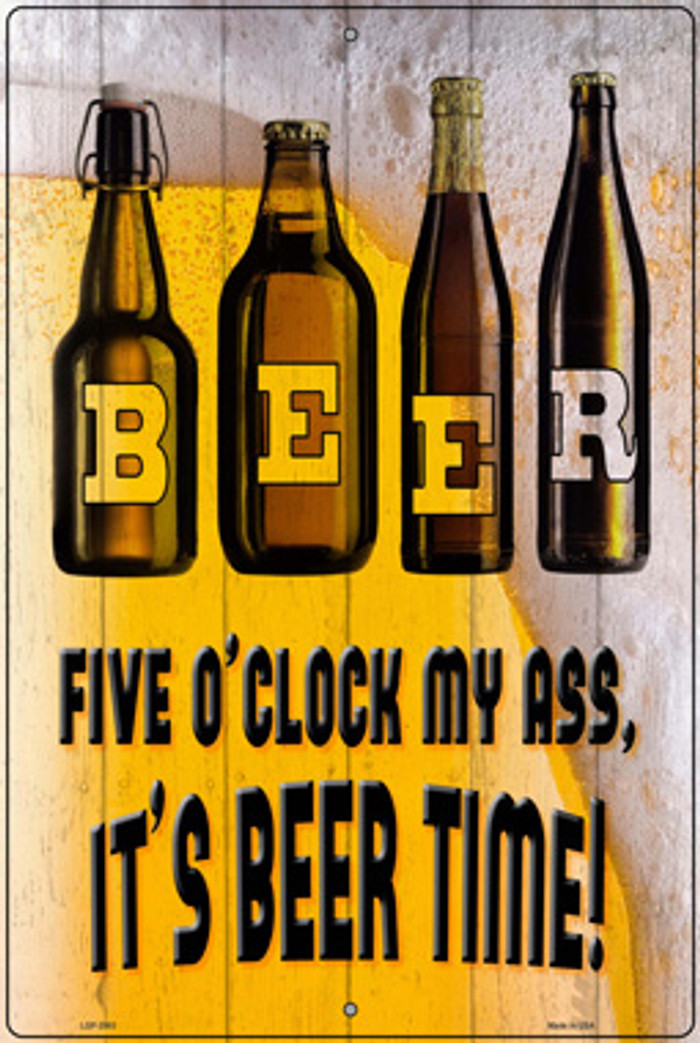 Its Beer Time Wholesale Novelty Large Metal Parking Sign LGP-2983