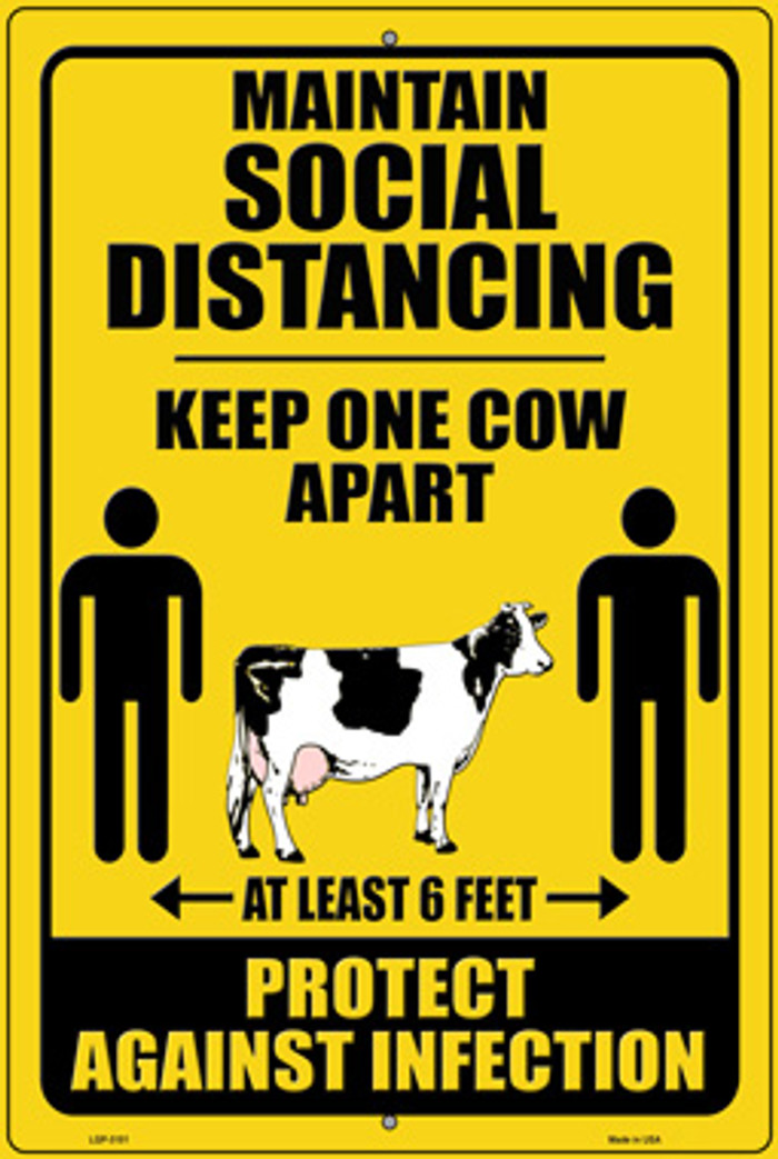 Keep One Cow Apart Wholesale Novelty Large Metal Parking Sign LGP-3101