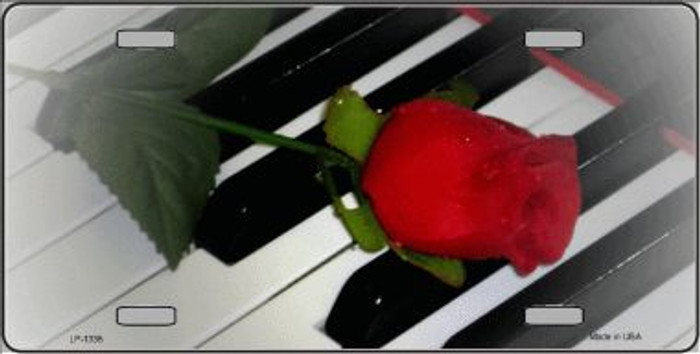 Piano Keys Red Rose Novelty Wholesale Metal License Plate LP-1335