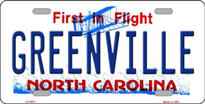 Greenville North Carolina Novelty Wholesale Metal License Plate