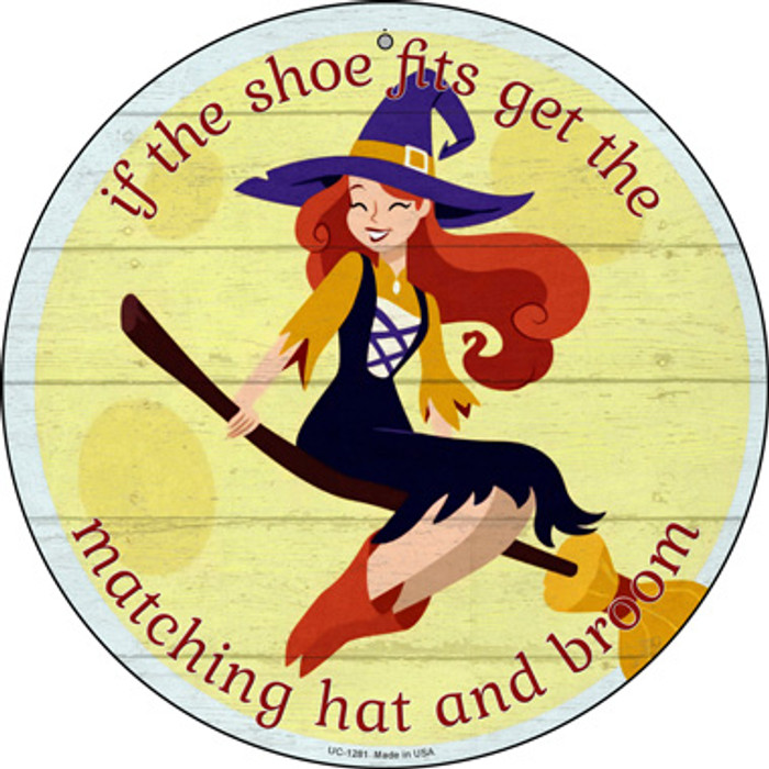 Matching Hat and Broom Girl Wholesale Novelty Small Metal Circular Sign UC-1281