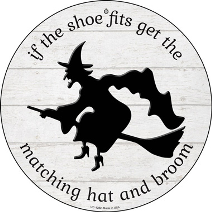 Matching Hat and Broom Witch Wholesale Novelty Small Metal Circular Sign UC-1282