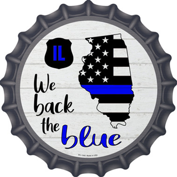 Illinois Back The Blue Wholesale Novelty Metal Bottle Cap BC-1242