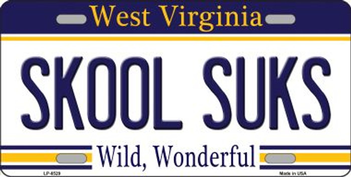 Skool Suks West Virginia Novelty Wholesale Metal License Plate