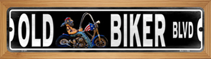 Old Biker Wholesale Novelty Wood Mounted Small Metal Street Sign WB-K-1471