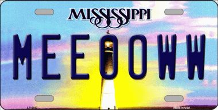 Meeooww Mississippi Novelty Wholesale Metal License Plate