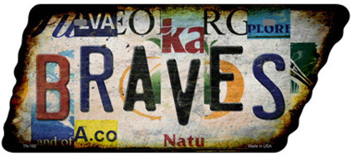 Braves Strip Art Wholesale Novelty Rusty Effect Metal Tennessee License Plate Tag TN-192