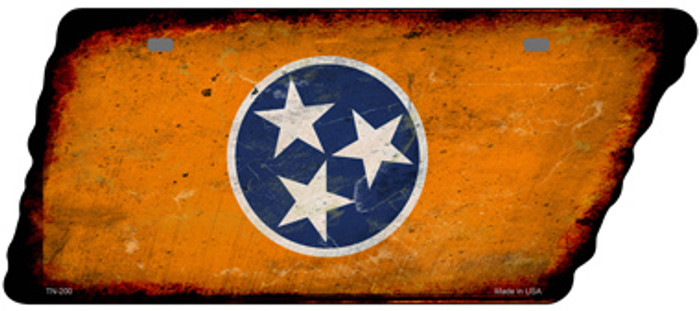 Orange Tennessee Flag Wholesale Novelty Rusty Effect Metal Tennessee License Plate Tag TN-200