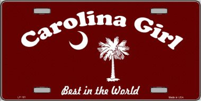 Carolina Girl Burgundy Wholesale Novelty Metal License Plate