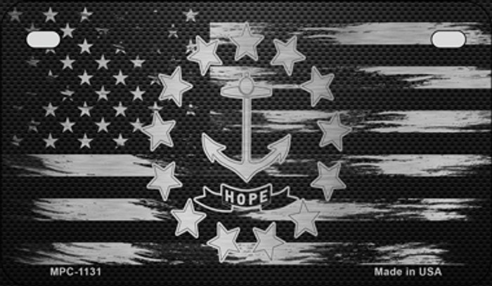 Rhode Island Carbon Fiber Brushed Aluminum Wholesale Novelty Metal Motorcycle Plate MPC-1131