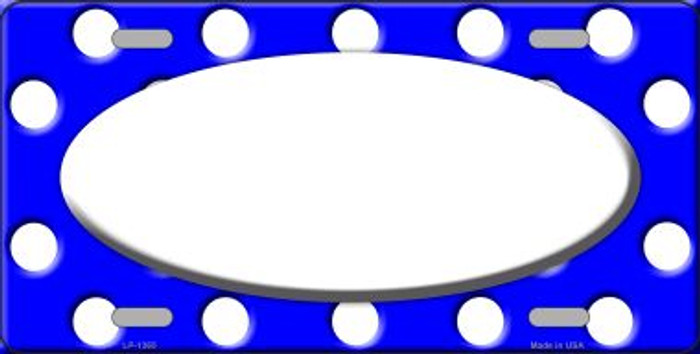 White Royal Blue Polka Dot Pattern With Center Oval Wholesale Metal Novelty License Plate LP-1365