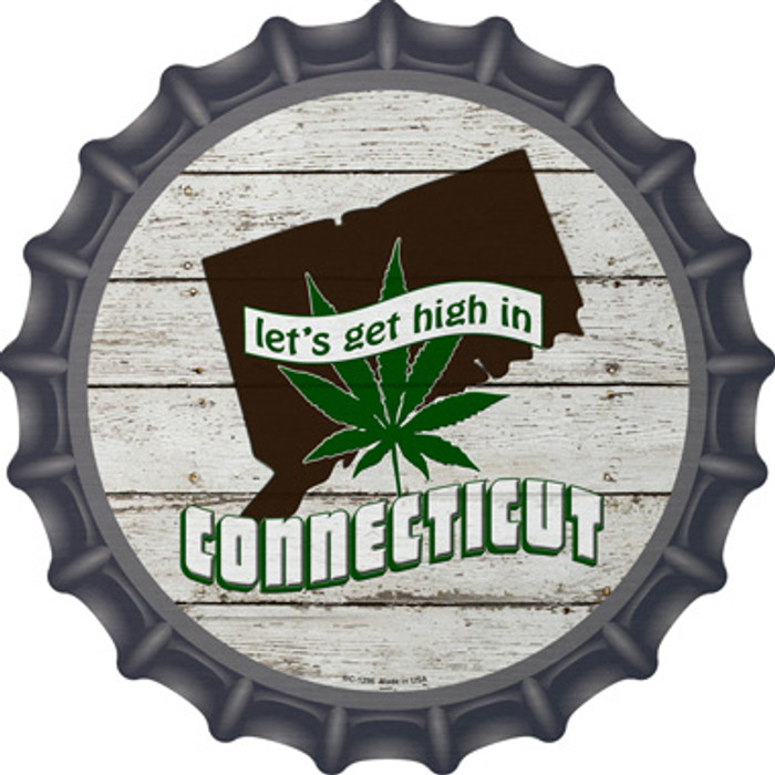 Lets Get High In Connecticut Wholesale Novelty Metal Bottle Cap BC-1296