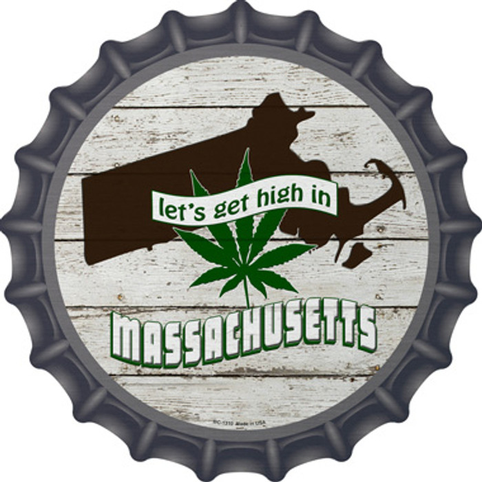 Lets Get High In Massachusetts Wholesale Novelty Metal Bottle Cap BC-1310