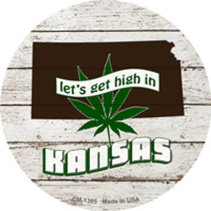 Lets Get High In Kansas Wholesale Novelty Metal Circle Magnet CM-1305