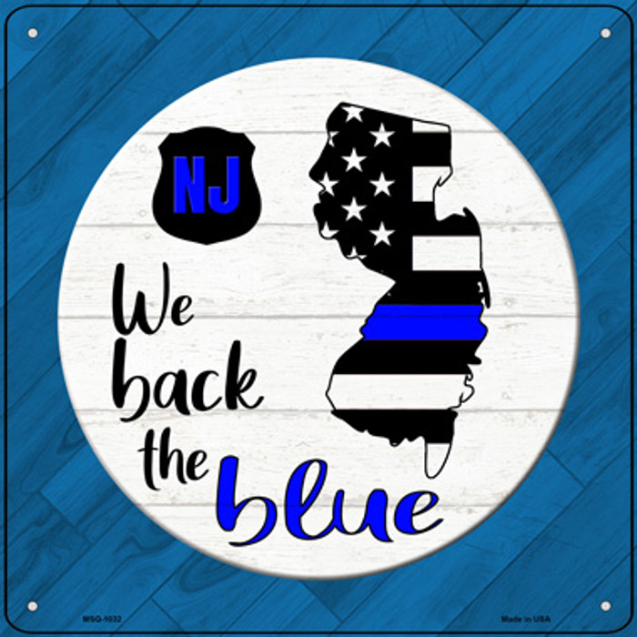 New Jersey Back The Blue Wholesale Novelty Metal Mini Square Sign MSQ-1032