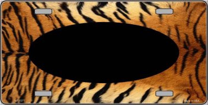 Pattern Tiger With Black Center Oval Wholesale Metal Novelty License Plate