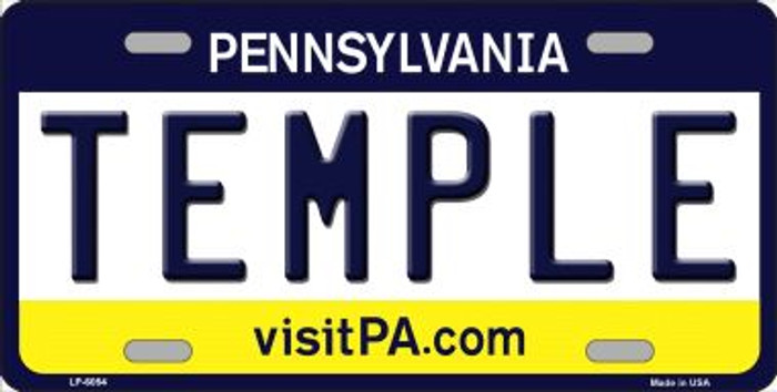 Temple Pennsylvania State Background Novelty Wholesale Metal License Plate