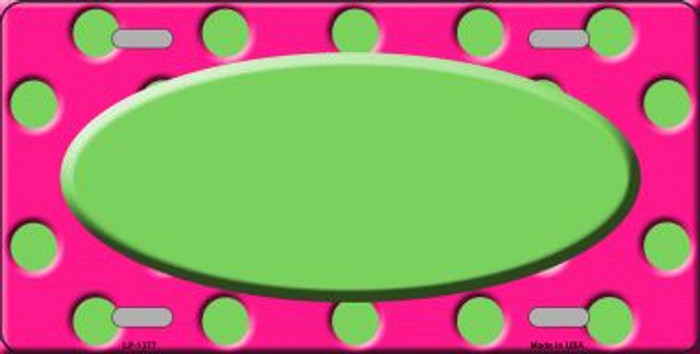 Lime Green Pink Polka Dot Print With Lime Green Center Oval Wholesale Metal Novelty License