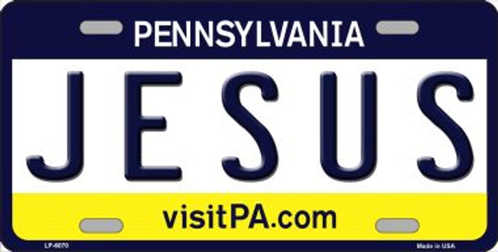 Jesus Pennsylvania State Background Novelty Wholesale Metal License Plate