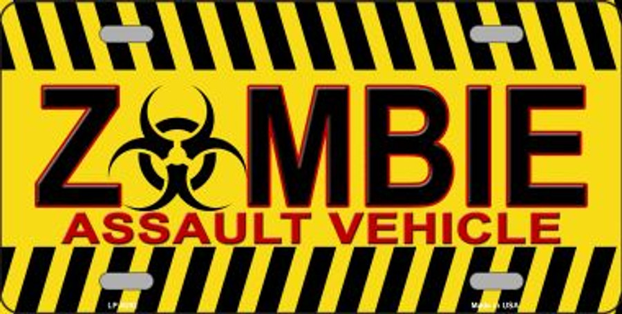 Zombie Assault Vehicle Novelty Wholesale Metal License Plate