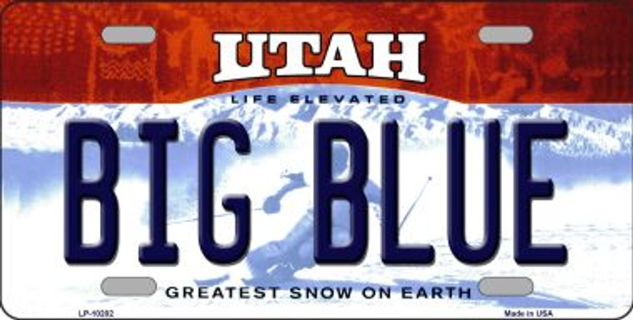 Big Blue Utah Background Wholesale Metal Novelty License Plate LP-10202