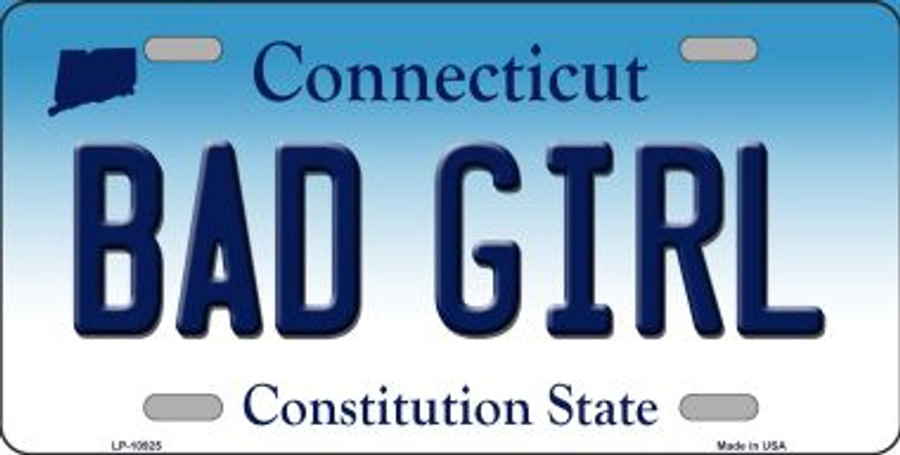 Bad Girl Connecticut Background Wholesale Metal Novelty License Plate