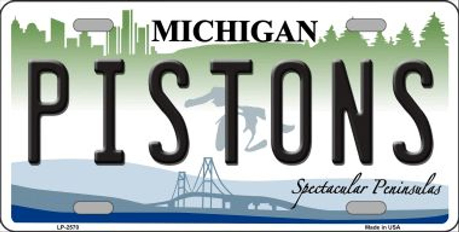 Pistons Michigan Novelty State Background Wholesale Metal License Plate LP-2570