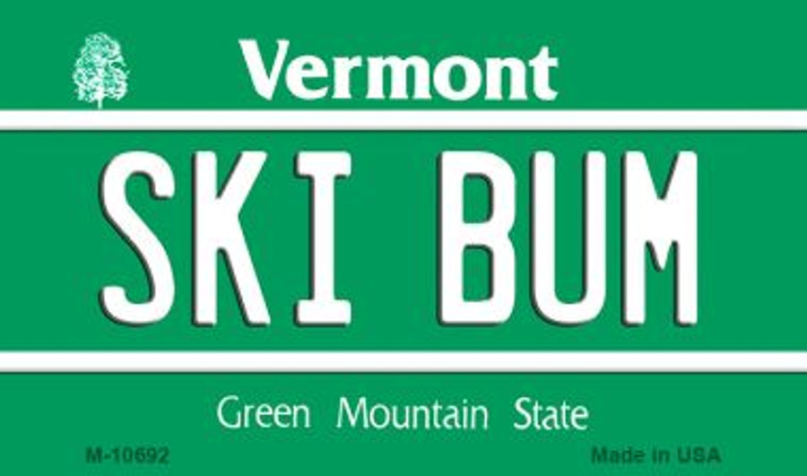 Ski Bum Vermont State License Plate Novelty Wholesale Magnet M-10692