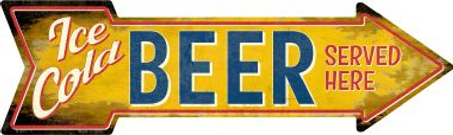 Ice Cold Beer Served Here Wholesale Novelty Metal Arrow Sign A-411