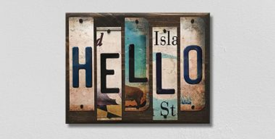 Hello License Plate Strips Wholesale Novelty Wood Sign WS-110