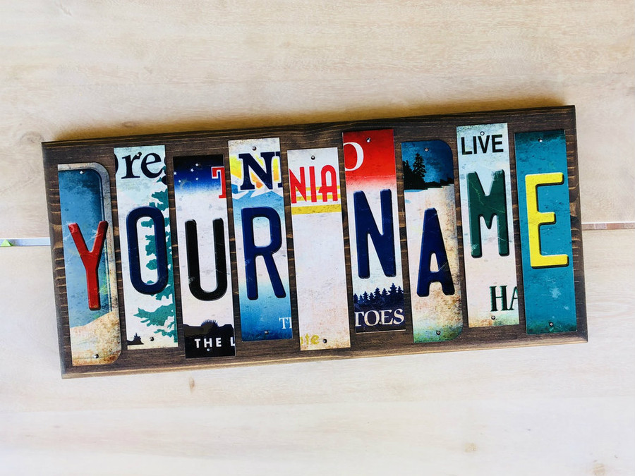 Personalized Custom Name Cut License Plate Strip Wholesale Wood Sign CUSTOMWS