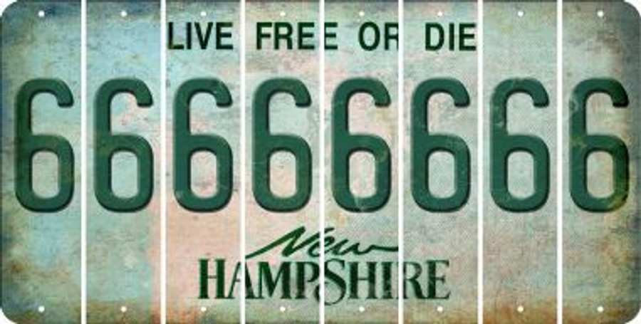 New Hampshire 6 Cut License Plate Strips (Set of 8) LPS-NH1-033