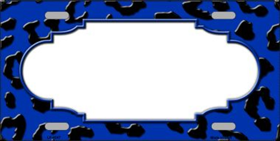 Blue Black Cheetah Print With Scallop Wholesale Metal Novelty License Plate LP-4547