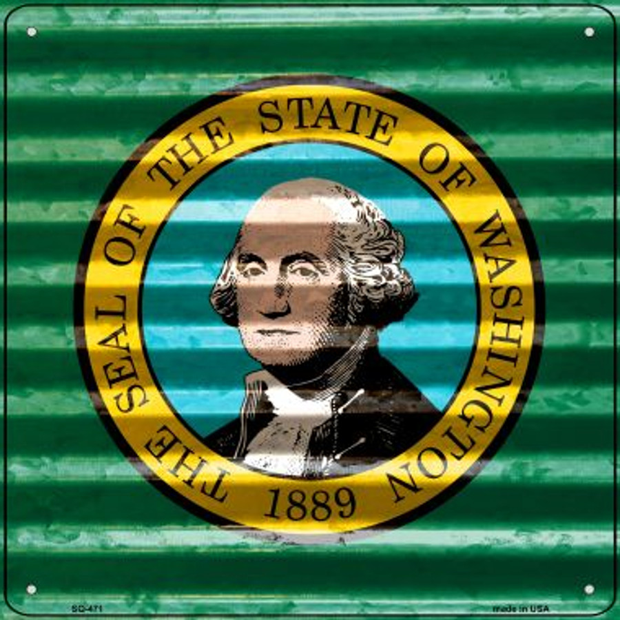 Washington Flag Corrugated Effect Wholesale Novelty Square Sign SQ-471