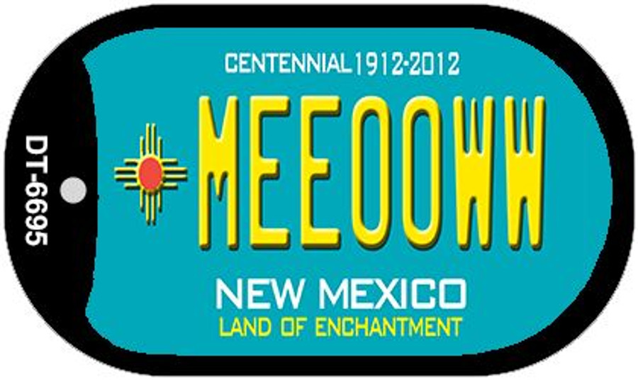Meeooww Teal New Mexico Wholesale Novelty Metal Dog Tag Necklace DT-6695