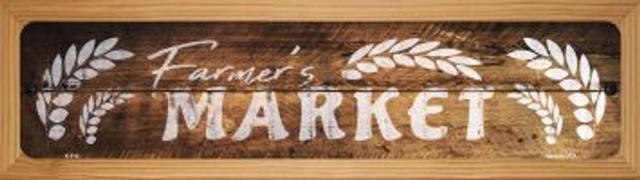 Farmers Market Wholesale Novelty Wood Mounted Metal Mini Street Sign WB-K-914