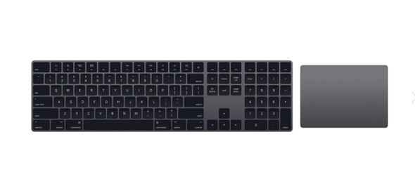 Refurbished Apple Wireless Magic Keyboard 2 full size with numeric keypad UK Layout (A1644) + Magic 2 Trackpad (A1535) Space Grey