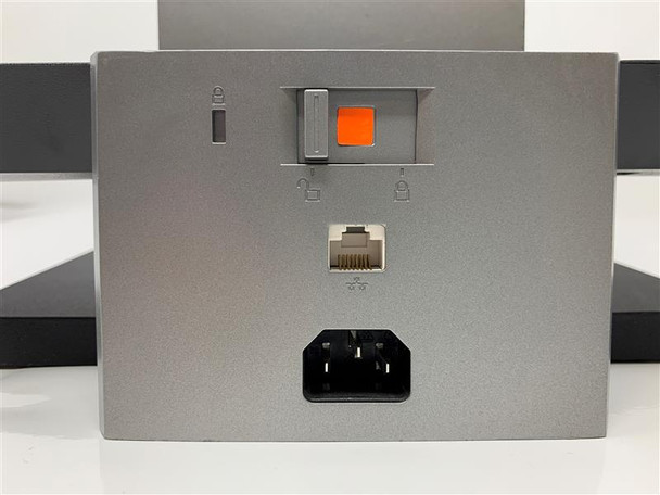 monitor stand base - contains kettle and ethernet ports + PC lock