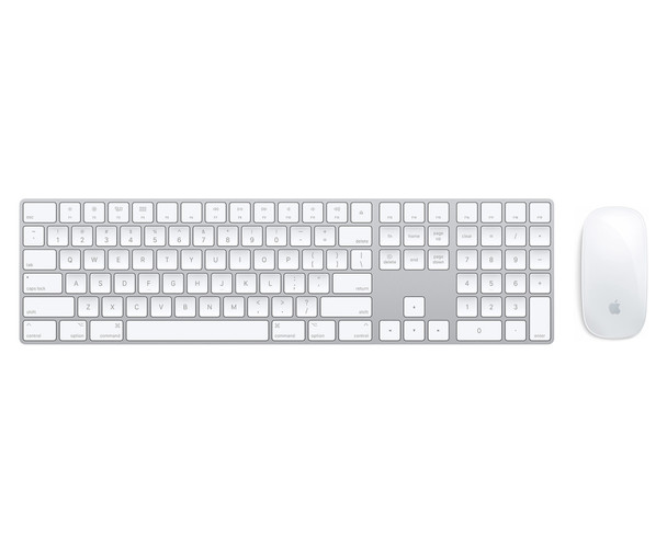 Refurbished Apple Wireless Magic Keyboard 2 full size with numeric keypad UK Layout (A1644) + Magic 2 Mouse (A1650) Silver