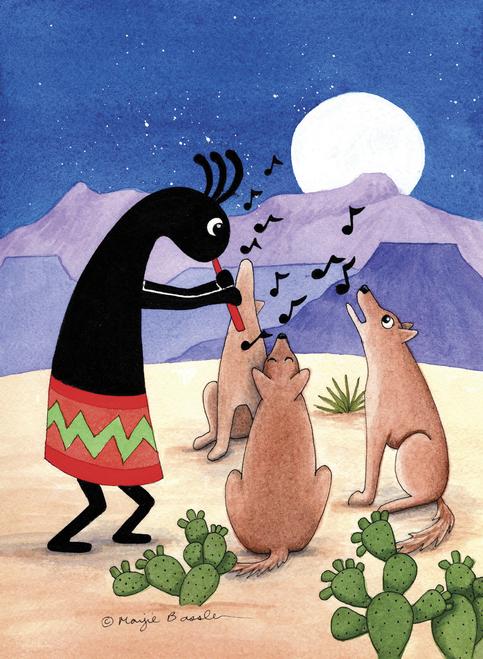 CHR1065 Kokopelli And Coyote Choir by Marjie Bassler