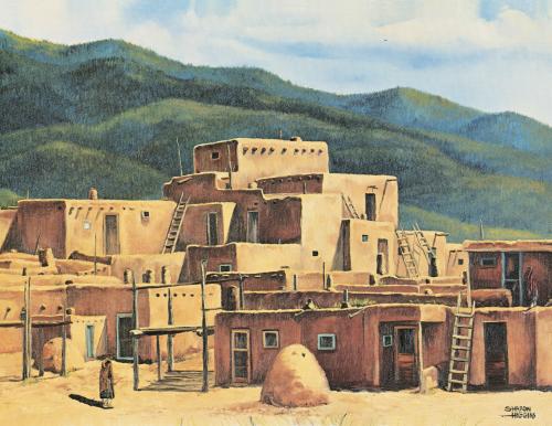 N-227 Original Art Taos Pueblo by Sharon Higgins